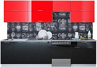 Готовая кухня Интерлиния Мила Gloss 60-30 (красный/черный) -