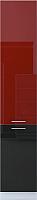 Шкаф-пенал кухонный Интерлиния Мила Gloss НШП-№2-2145 (бордовый/черный) -