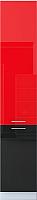 Шкаф-пенал кухонный Интерлиния Мила Gloss НШП-№2-2145 (красный/черный) -