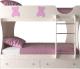 Двухъярусная кровать Артём-Мебель СН 108.01 (сосна/мишутка/розовый металлик) -