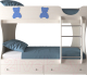 Двухъярусная кровать Артём-Мебель СН 108.01 (сосна/мишутка/синий металлик) -