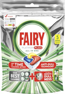 Капсулы для посудомоечных машин Fairy Platinum Plus All-in-1 Лимон (5шт)