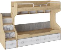 Двухъярусная кровать ТриЯ Мегаполис СМ-315.11.01 с приставной лесницей (бунратти/белый с рисунком) -