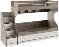 Двухъярусная кровать ТриЯ Брауни СМ-313.11.001 с приставной лестницей (беж с рисунком/дуб сонома трюфель) -
