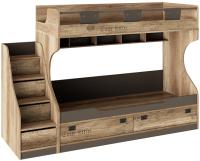 Двухъярусная кровать ТриЯ Пилигрим СМ-276.11.01 с приставной лесницей (дуб каньон светлый/серый) -
