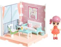 Комплект аксессуаров для кукольного домика Bondibon Кукольный уголок и куколка Oly. Гостиная / ВВ4490 -