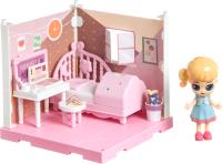 Комплект аксессуаров для кукольного домика Bondibon Кукольный уголок и куколка Oly. Спальня / ВВ4492 -