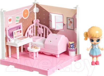 Комплект аксессуаров для кукольного домика Bondibon Кукольный уголок и куколка Oly. Спальня / ВВ4492