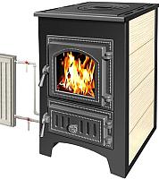 Печь-камин Везувий ПК-01 (270) с плитой и теплообменником (бежевый) -