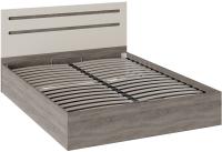 Двуспальная кровать ТриЯ Фьюжн ТД-260.01.04 с ПМ 160x200 (бежевый/дуб сонома трюфель) -