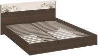 Двуспальная кровать ТриЯ Мишель 160x200 (венге цаво/дуб белфорт с рисунком) -
