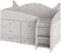 Кровать-чердак ТриЯ Каспер комбинированная (ясень шимо/бежевый) -