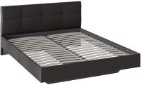 Двуспальная кровать ТриЯ Элис тип 1 с мягкой обивкой (темный) -