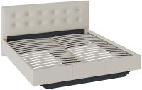 Двуспальная кровать ТриЯ Элис тип 2 с мягкой обивкой (серо-бежевый) -