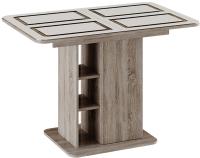 Обеденный стол ТриЯ Мюнхен тип 1 раздвижной (дуб сонома трюфель/стекло бежевое с рисунком) -