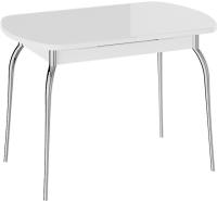 Обеденный стол ТриЯ Рио (белый/стекло белый глянец/ноги хром) -