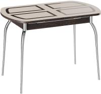 Обеденный стол ТриЯ Рио (венге/стекло бежевое с рисунком/ноги хром) -