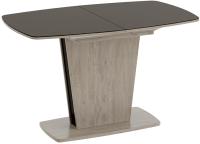 Обеденный стол ТриЯ Честер тип 2 раздвижной (дуб сонома трюфель/стекло коричневое глянец) -