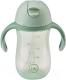 Поильник Happy Baby 14010 (оливковый, с трубочкой и ручками) -