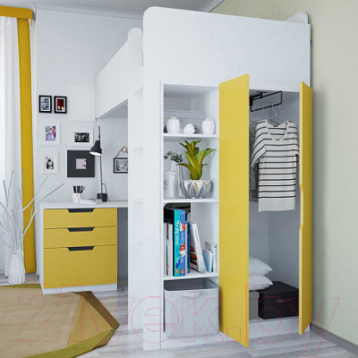 Двери шкафа для кровати-чердака Polini Kids Simple (желтый)