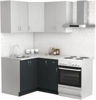 Готовая кухня S-Company Клео лайт 1.2x1.2 левая (антрацит/стальной серый) -
