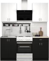 Готовая кухня S-Company Клео лайт 1.2 (черный/белый) -