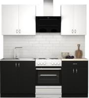Готовая кухня S-Company Клео лайт 1.4 (черный/белый) -