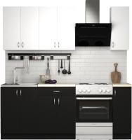 Готовая кухня S-Company Клео лайт 1.5 (черный/белый) -