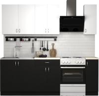 Готовая кухня S-Company Клео лайт 1.7 (черный/белый) -