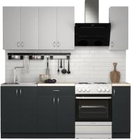 Готовая кухня S-Company Клео лайт 1.5 (антрацит/стальной серый) -