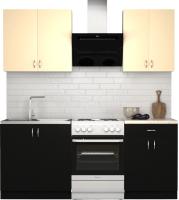 Готовая кухня S-Company Клео лайт 1.4 (черный/песочный) -