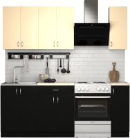 Готовая кухня S-Company Клео лайт 1.5 (черный/песочный) -