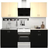 Готовая кухня S-Company Клео лайт 1.6 (черный/песочный) -