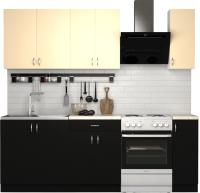 Готовая кухня S-Company Клео лайт 1.7 (черный/песочный) -
