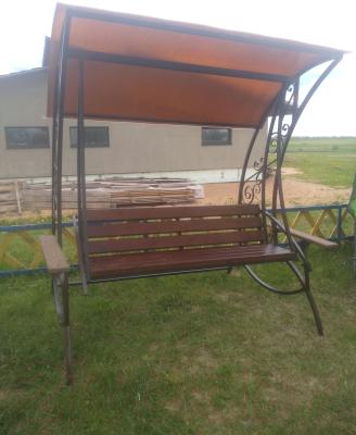 Качели садовые Грифонсервис КЛ7 (черный/бронза/сосна тик)