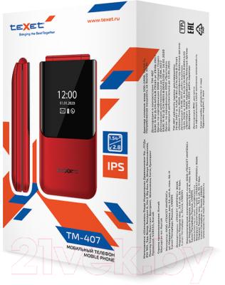 Мобильный телефон Texet TM-407 (красный)