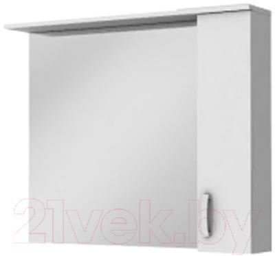 Шкаф с зеркалом для ванной Ювента БфШНЗ1-100 (белый, правый)