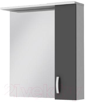 Шкаф с зеркалом для ванной Ювента БфШНЗ1-75 (серый, правый)