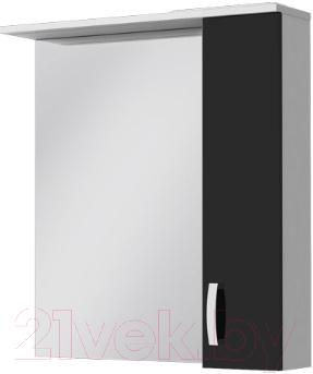 Шкаф с зеркалом для ванной Ювента БфШНЗ1-75 (черный, правый)