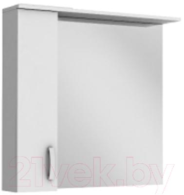 Шкаф с зеркалом для ванной Ювента БфШНЗ1-87 (белый, левый)