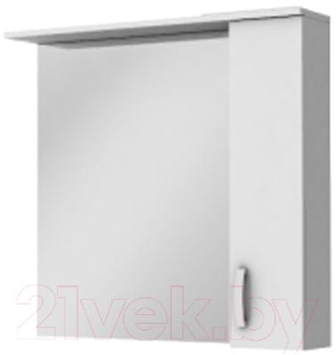 Шкаф с зеркалом для ванной Ювента БфШНЗ1-87 (белый, правый)