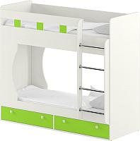 Двухъярусная кровать Славянская столица Д-КрД (белый/зеленый) -