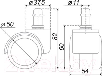 Колесо мебельное для стула Boyard N109BL/GR.5