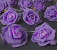 Светодиодная гирлянда Luazon Нить Розы фиолетовые 3612373 (теплый белый) -