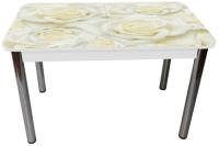 Обеденный стол Solt Рита 2с №164 (кромка белая/царга белая/ноги круглые хром) -