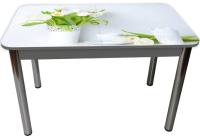 Обеденный стол Solt Рита 1с №145 (кромка серая/царга серая/ноги круглые хром) -