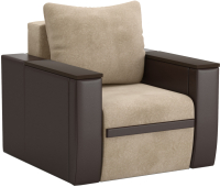 Кресло-кровать Sofos Атика New тип D нераскладное (Cortex Beige/Teos Dark Brown/венге) -
