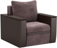 Кресло мягкое Sofos Атика New тип D нераскладное (Cortex Java/Teos Dark Brown/венге) -