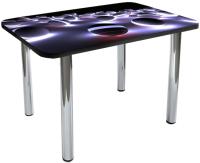 Обеденный стол Solt №53 110x70 (кромка черная/ноги хром) -