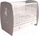 Детская кроватка Polini Kids French 710 Amis с ящиком (белый/серый) -